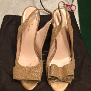 Kate Spade Rose Gold Bow Slingback Heels 8